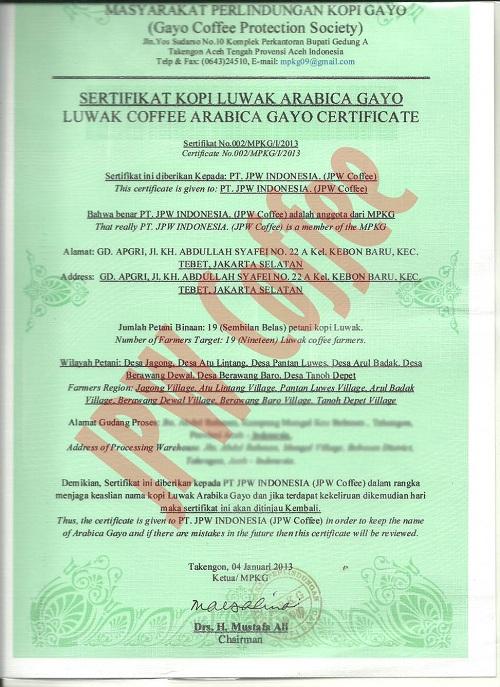 sertifikat keaslian kopi luwak
